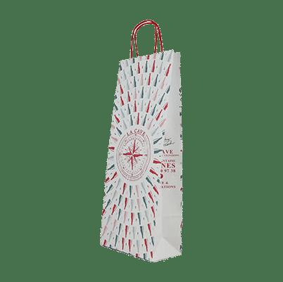 Sac papier bouteille personnalisé avec poignées torsadées
