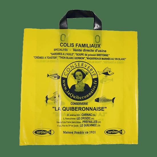 Sac plastique jaune personnalisé boutique
