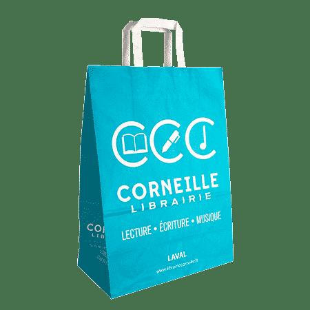 Impression sac papier poignées plates personnalisés