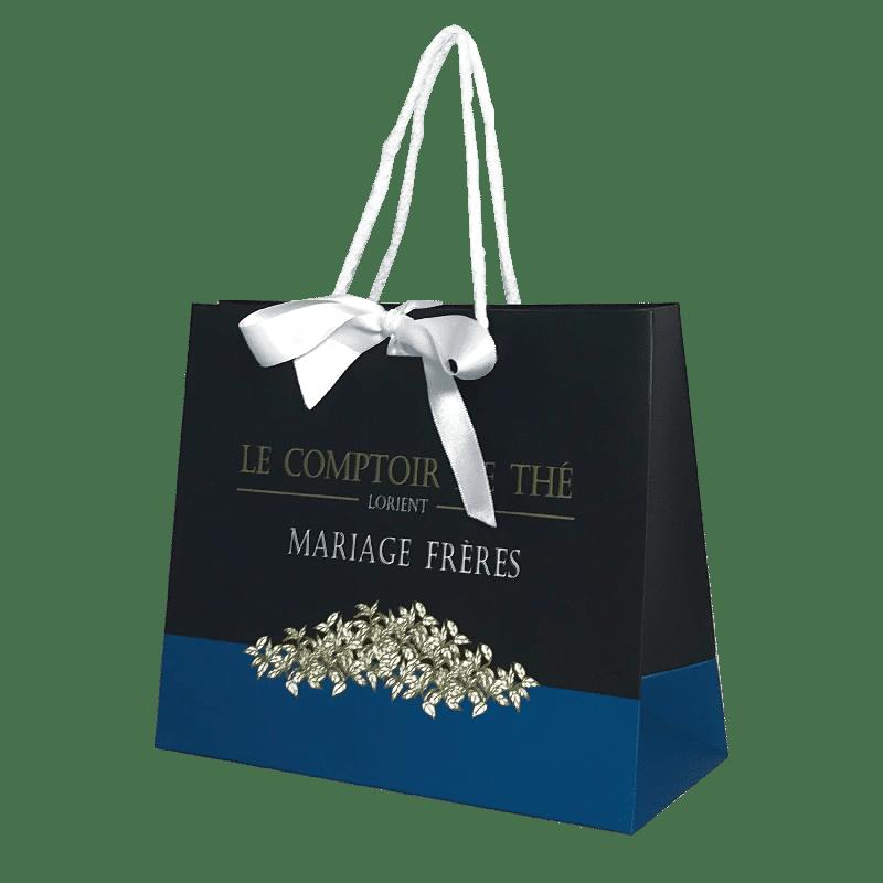 Sac papier luxe avec ruban personnalisé publicitaire