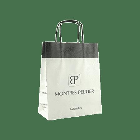 Sac papier poignées torsadées personnalisé avec logo boutique