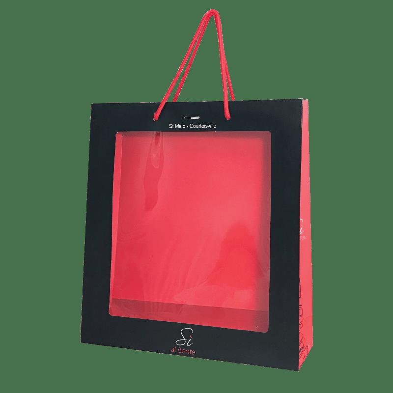 Pochette papier luxe publicitaire avec fenêtre