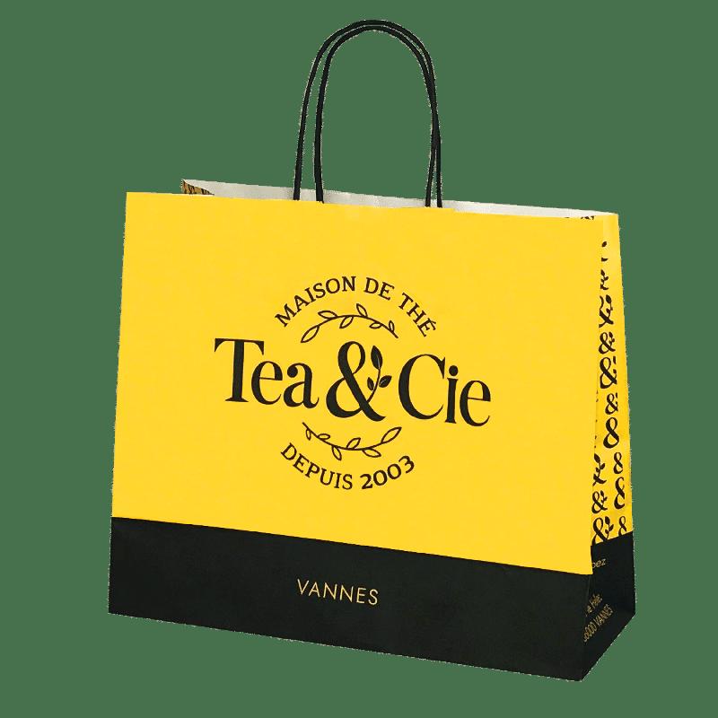 Sac papier poignées torsadées personnalisé boutique de thé