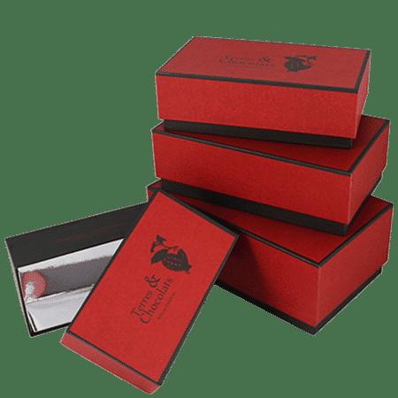 Ensemble de boîte avec taille diverses chocolatier