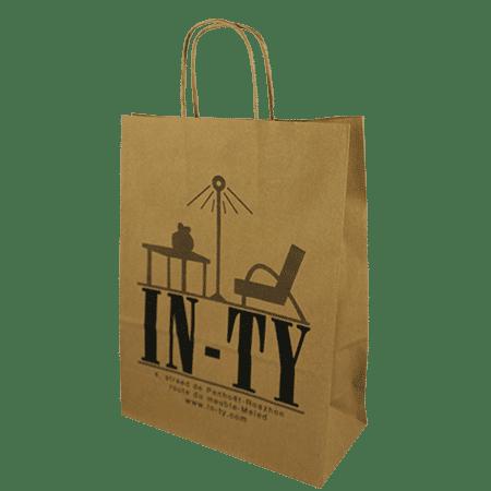 Sac kraft poignées torsadées personnalisés pour boutique magasin