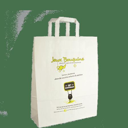 Personnalisation sac papier poignées plates publicitaire