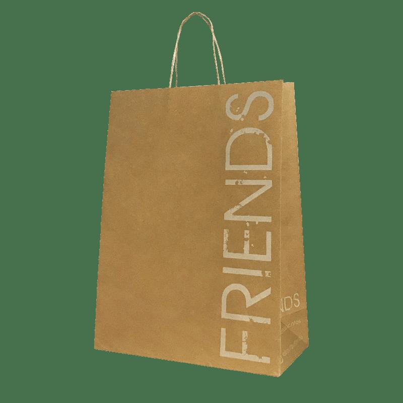 Sac kraft brun poignées torsadées personnalisé pour boutique