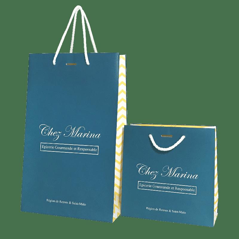Ensemble de sacs personnalisés publicitaires pour épicerie fine