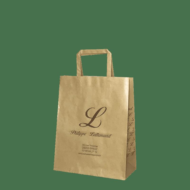 sac papier kraft poignées plates alimentaire
