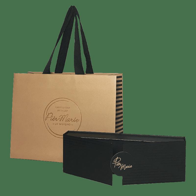 Sac kraft et boîte personnalisé pour chocolatier