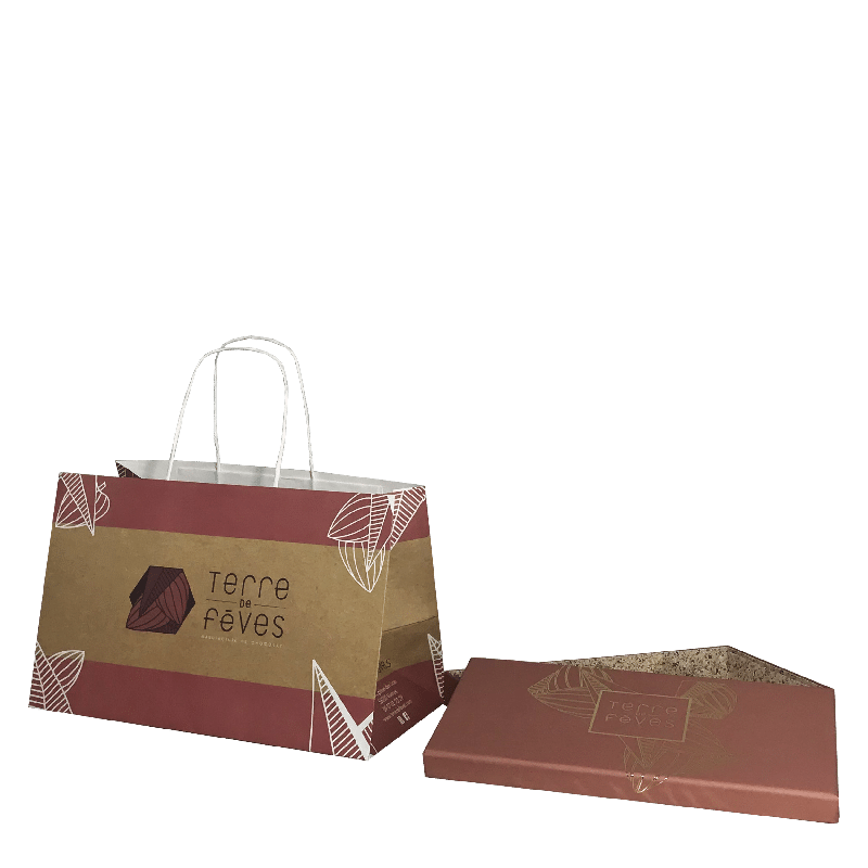 sac et boite assortis pour chocolatier